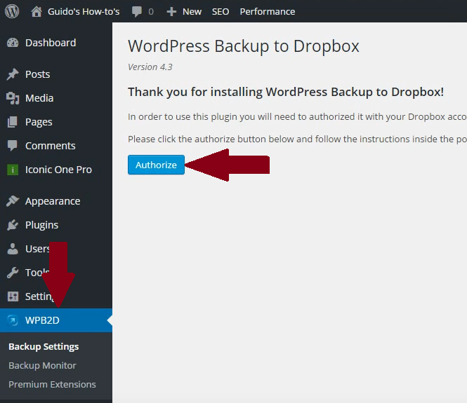 WordPress-backup-to-dropbox-authorizen