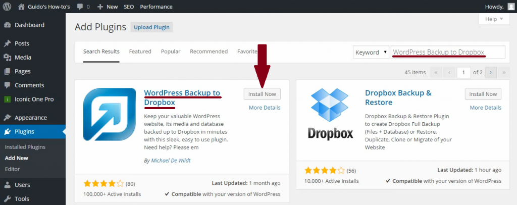 WordPress-backup-to-dropbox-installeren