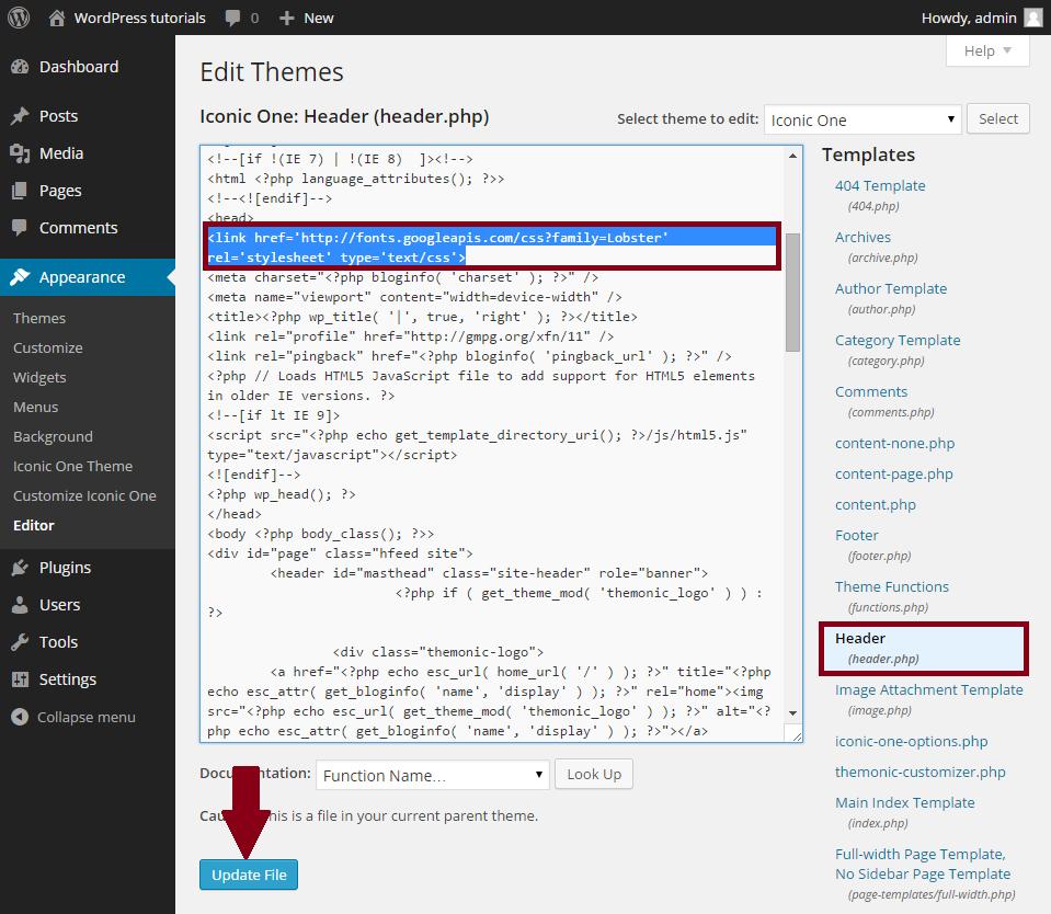WordPress-google-font-code-plakken-in-header