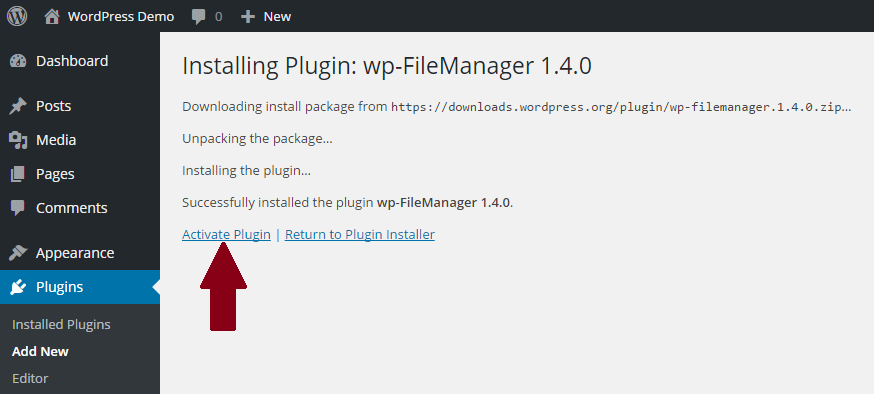 wp-filemanager-plugin-activeren